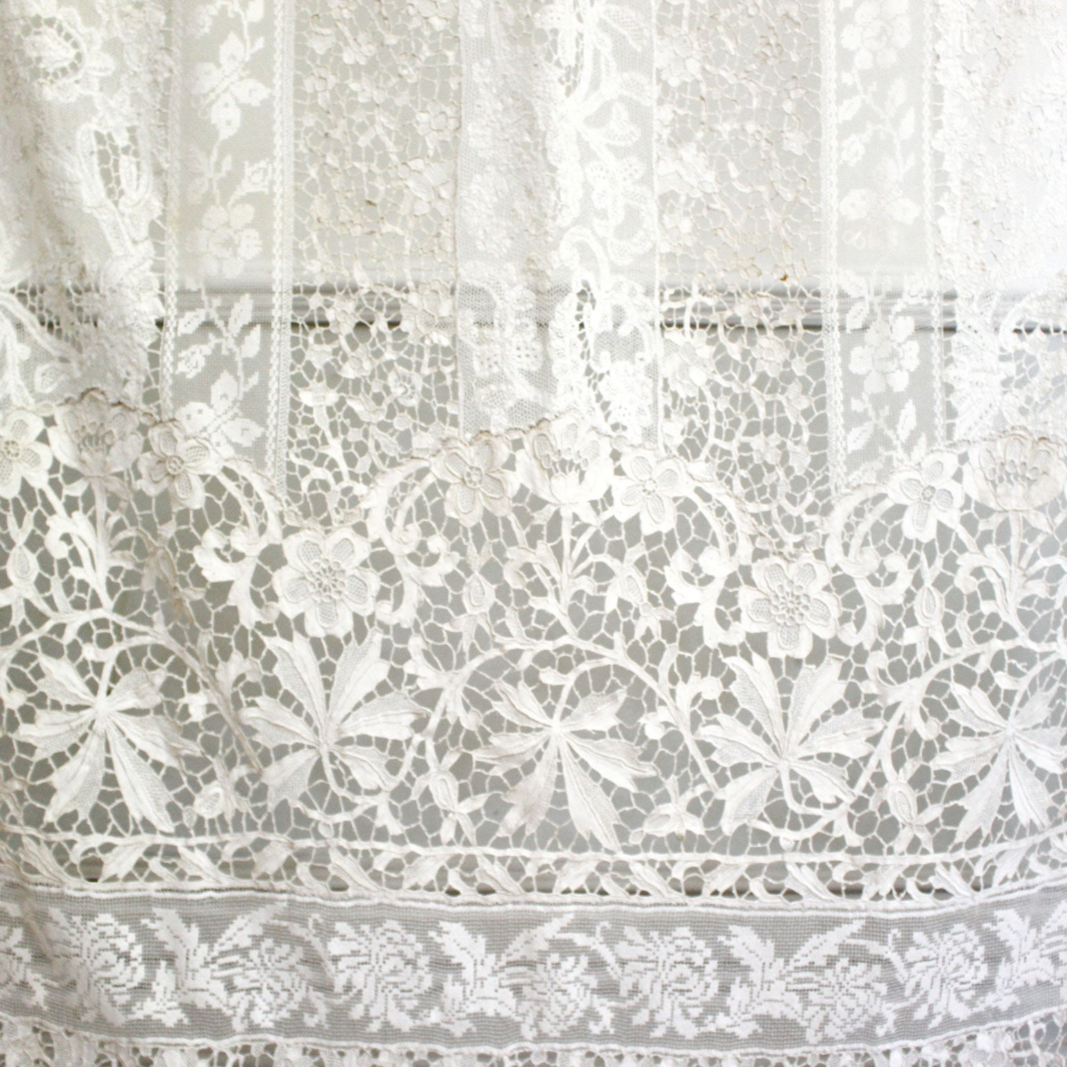 French Lace Curtains Large Pair Of Ornate Antique Hand Made Ivory French Lace Curtains
