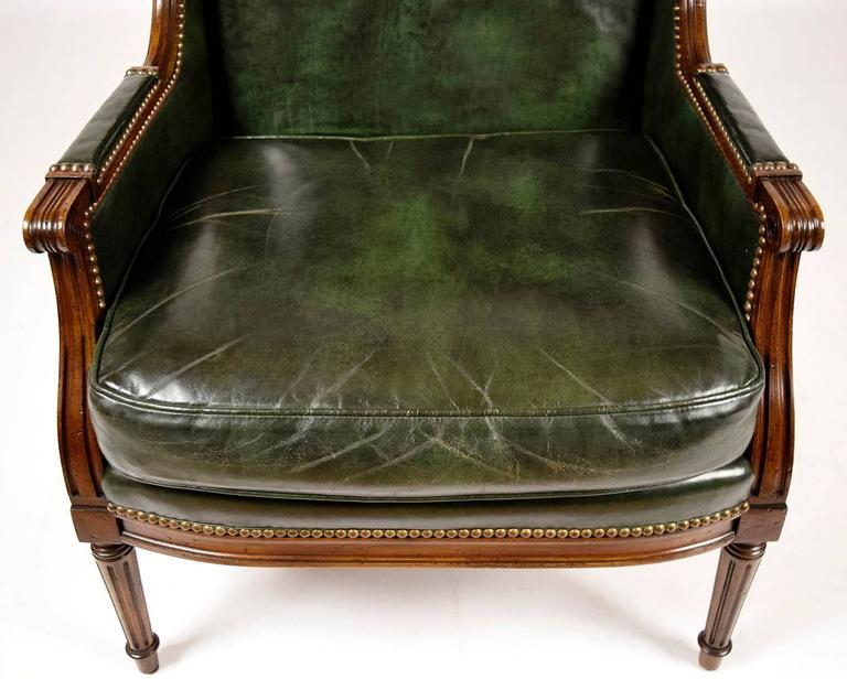 Vintage Hickory Leather Wingback Chair At 1stdibs