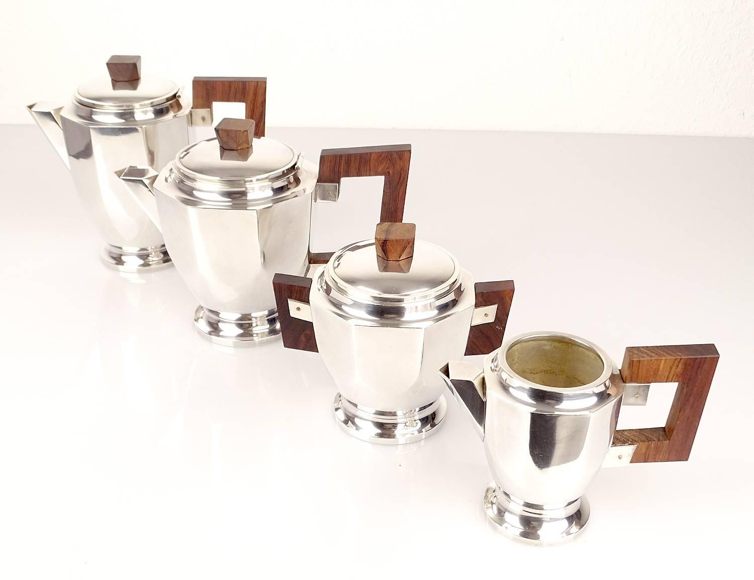 Coffee Art Maker Set French Art Deco Silver Plated Tea Coffee Set Art Deco