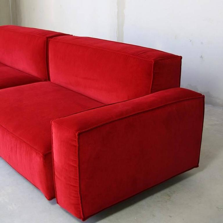 Red Sofa Beds Modern Red Microfiber Pu Leather Adjule ...
