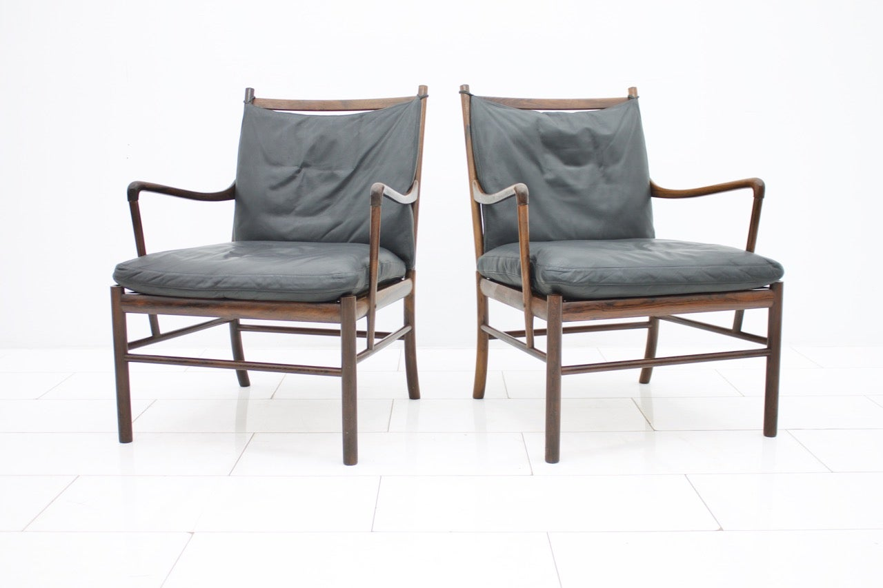 Ole Wanscher Sessel Pair Of Colonial Chairs With Stool By Ole Wanscher Poul Jeppesen Denmark