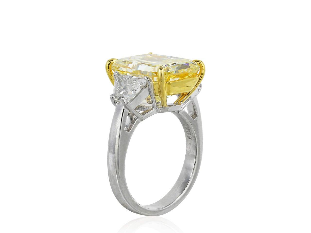 10 Carat Fancy Intense Yellow Diamond Gold Three Stone