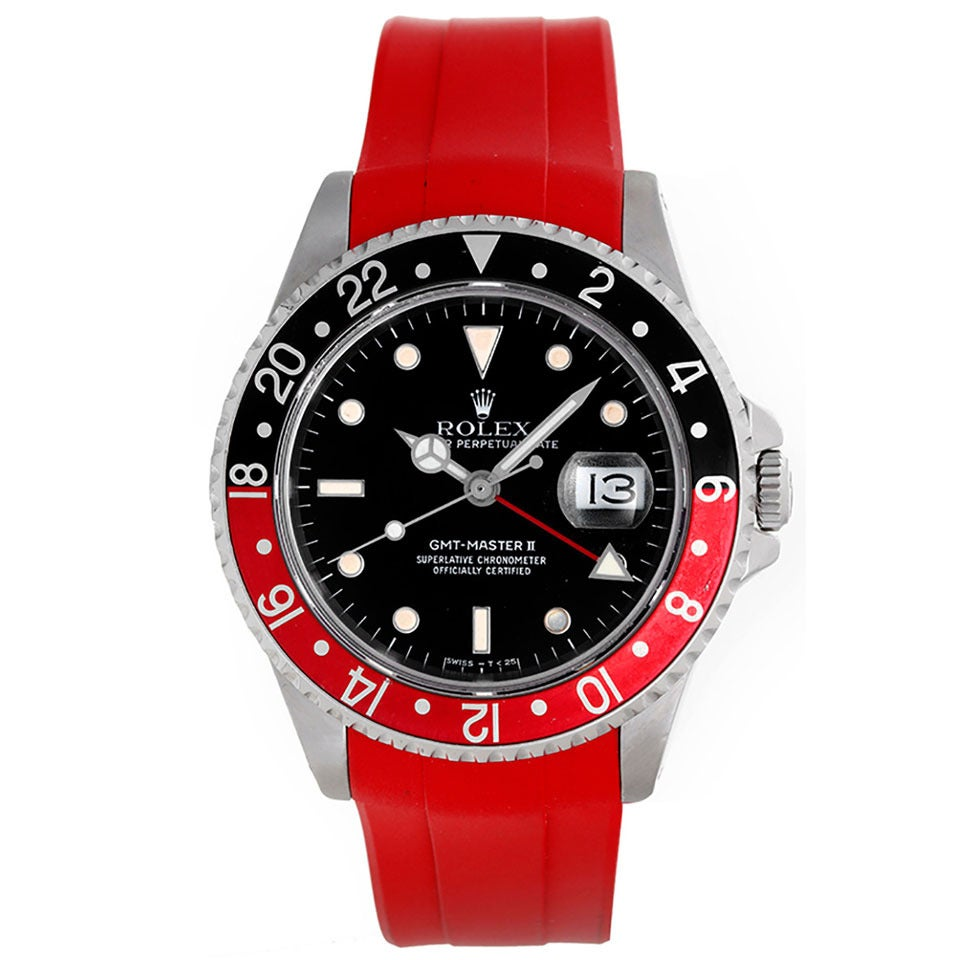 Rolex Rubber Rolex Stainless Steel Gmt Master Ii Red Rubber Strap Band Wristwatch Ref 16710