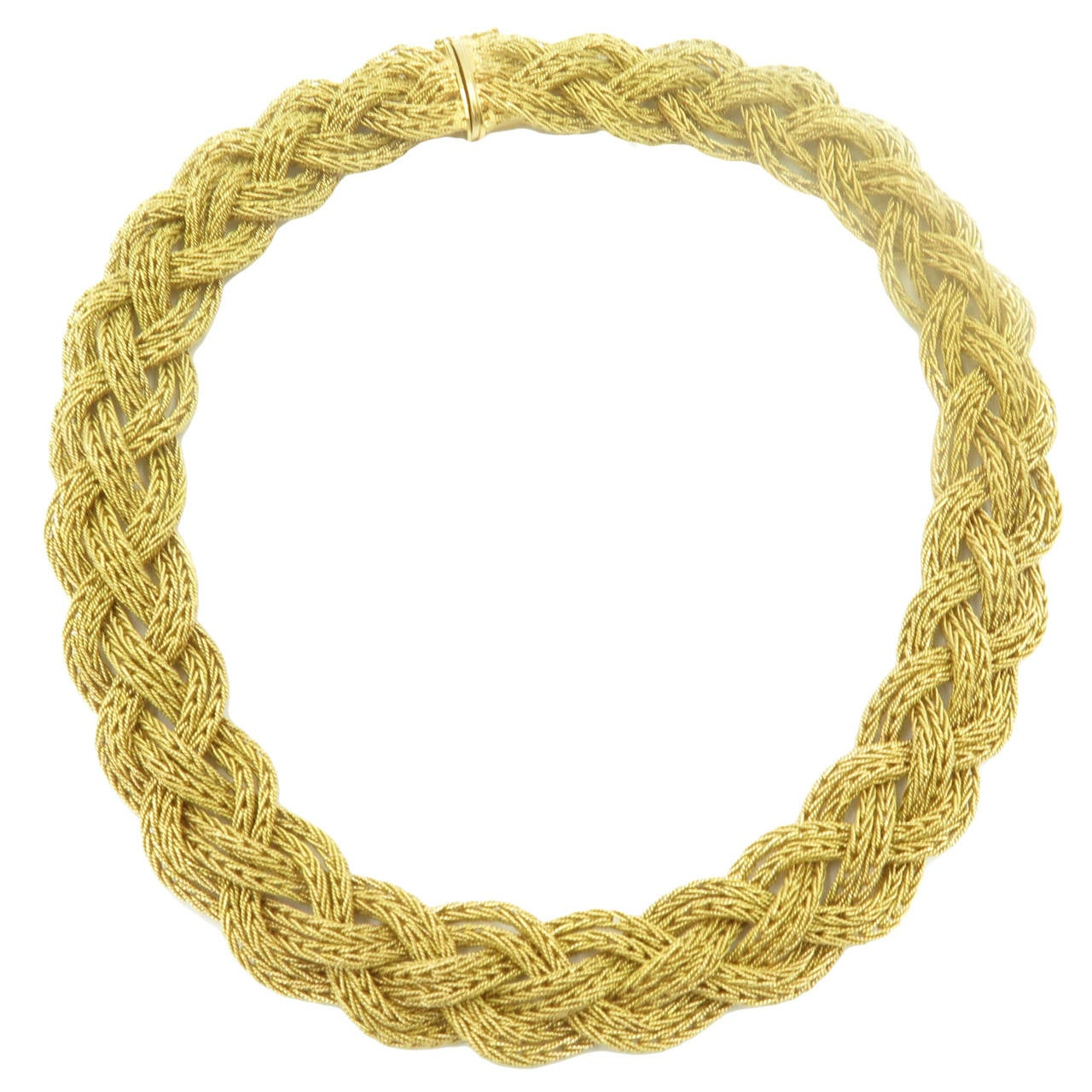 A Beautiful Braided Gold Choker Necklace At 1stdibs