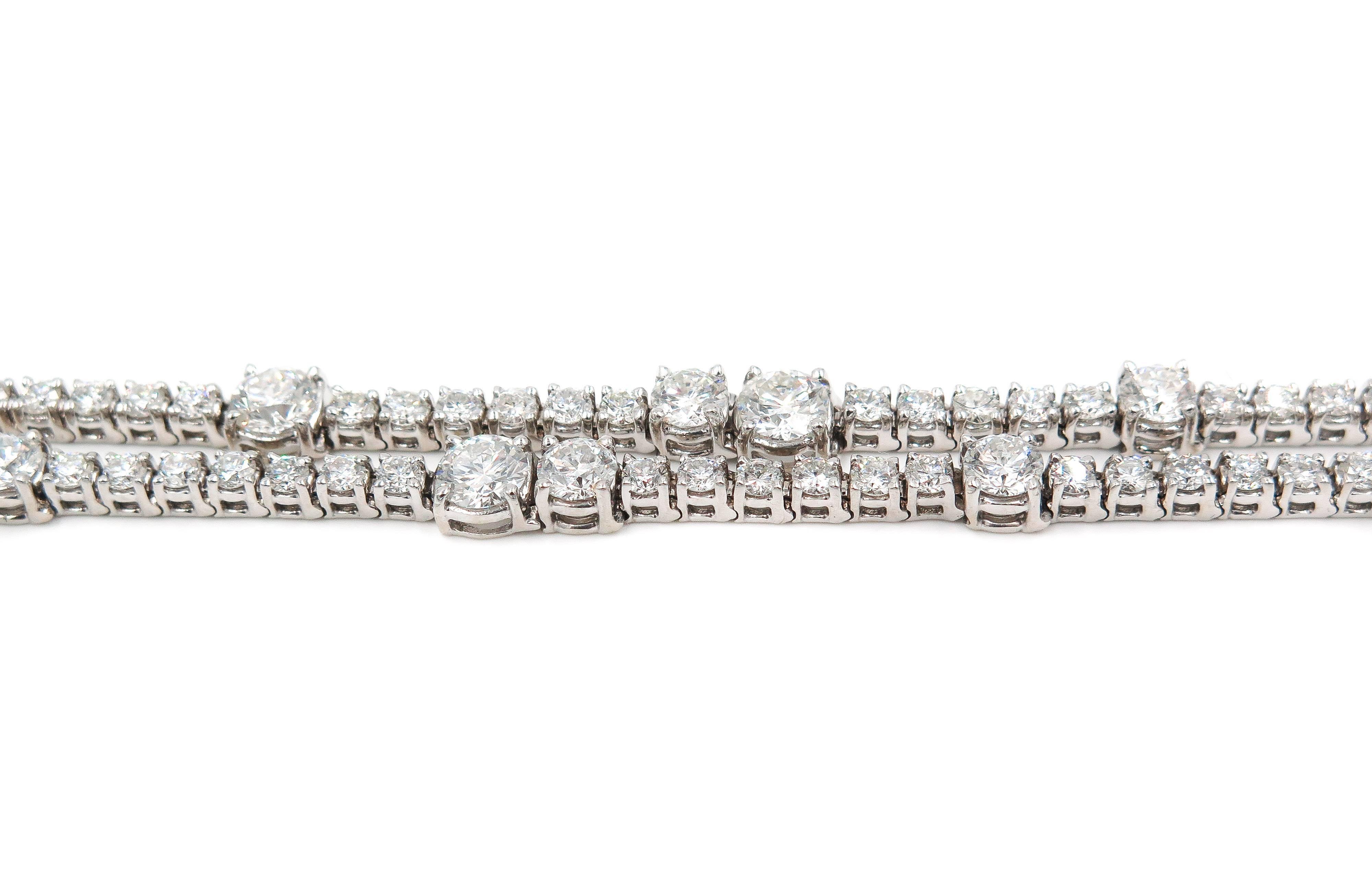 Double Row Diamond White Gold Bracelet For Sale At 1stdibs