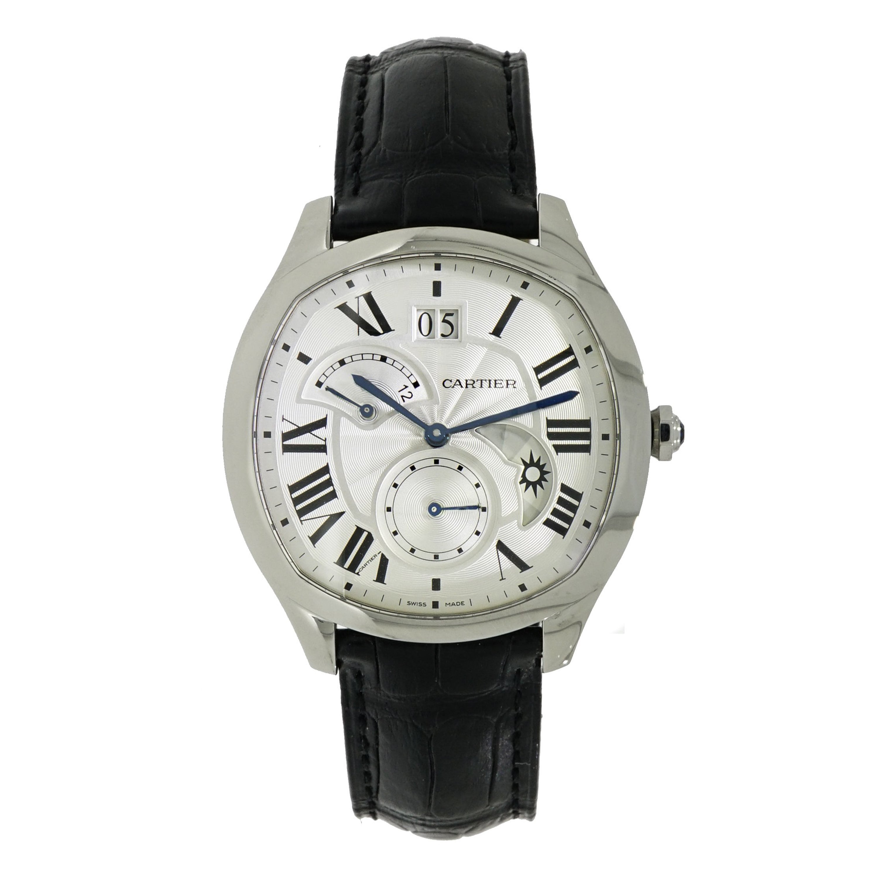 Cartier Watches Cartier Stainless Steel Drive De Cartier Gmt Self Winding Wristwatch