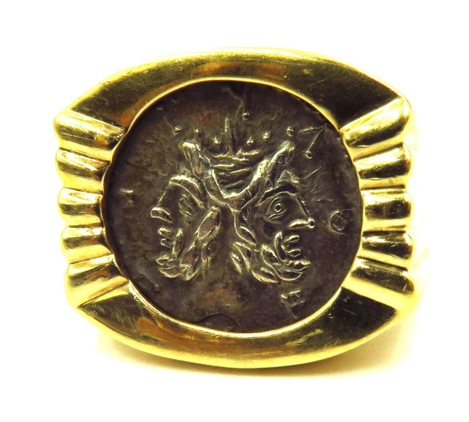 Unique Coin Unique Ancient Coin Roman God Janus Denarius Gold Ring At