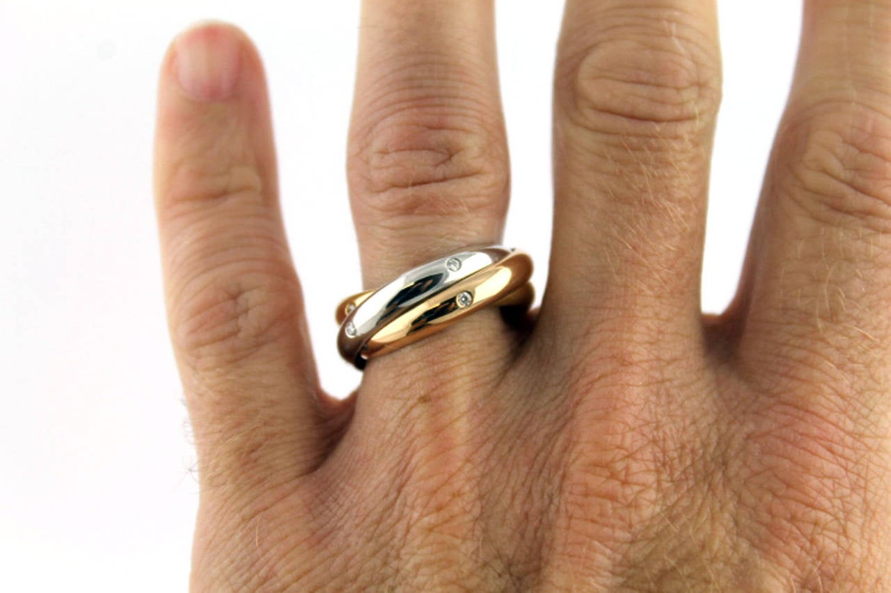 Cartier Diamond Tricolor Gold Trinity Ring At 1stdibs