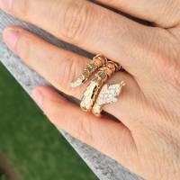 Illario Diamond Gold Serpent Ring at 1stdibs
