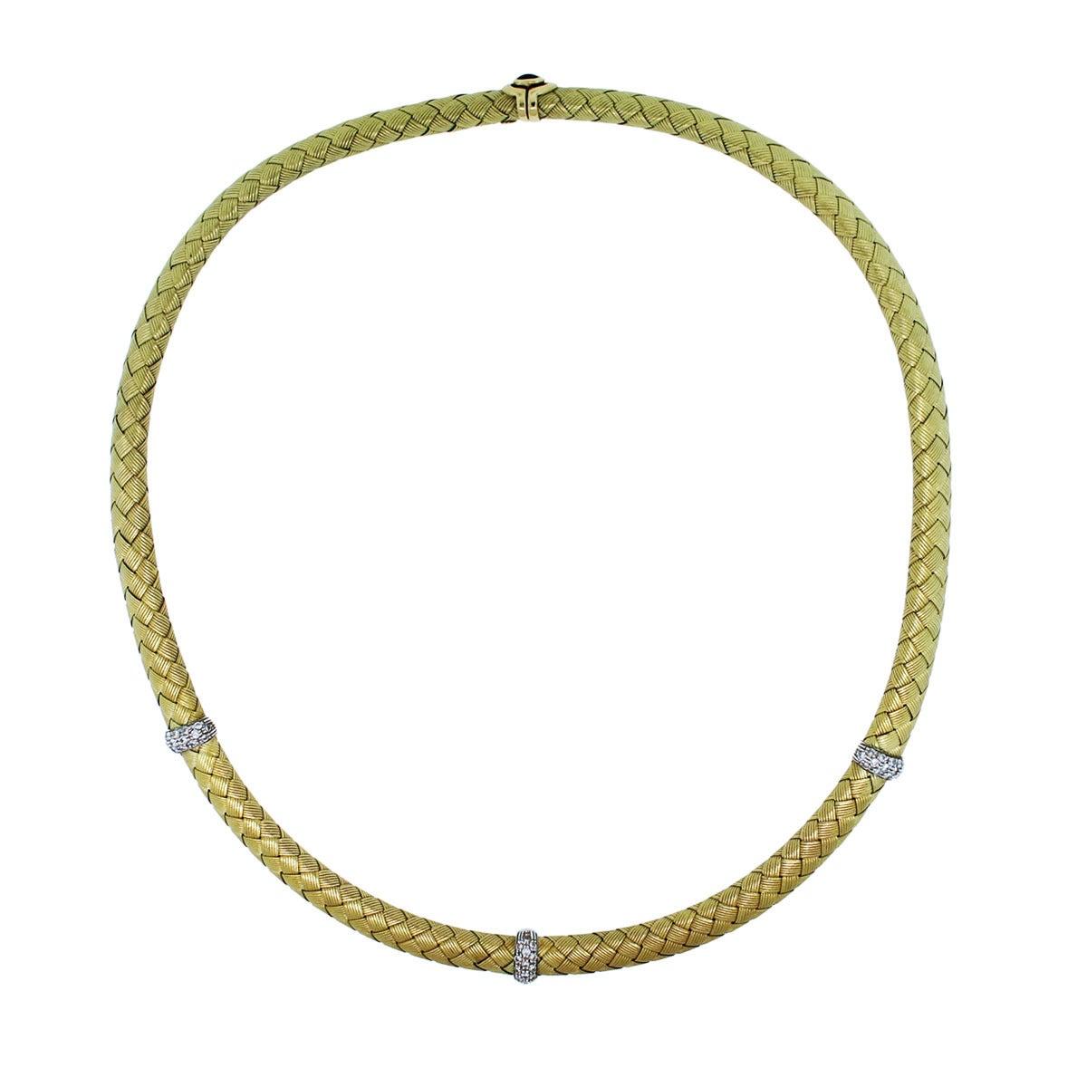 Roberto Coin Silk Woven Diamond Gold Choker Necklace At