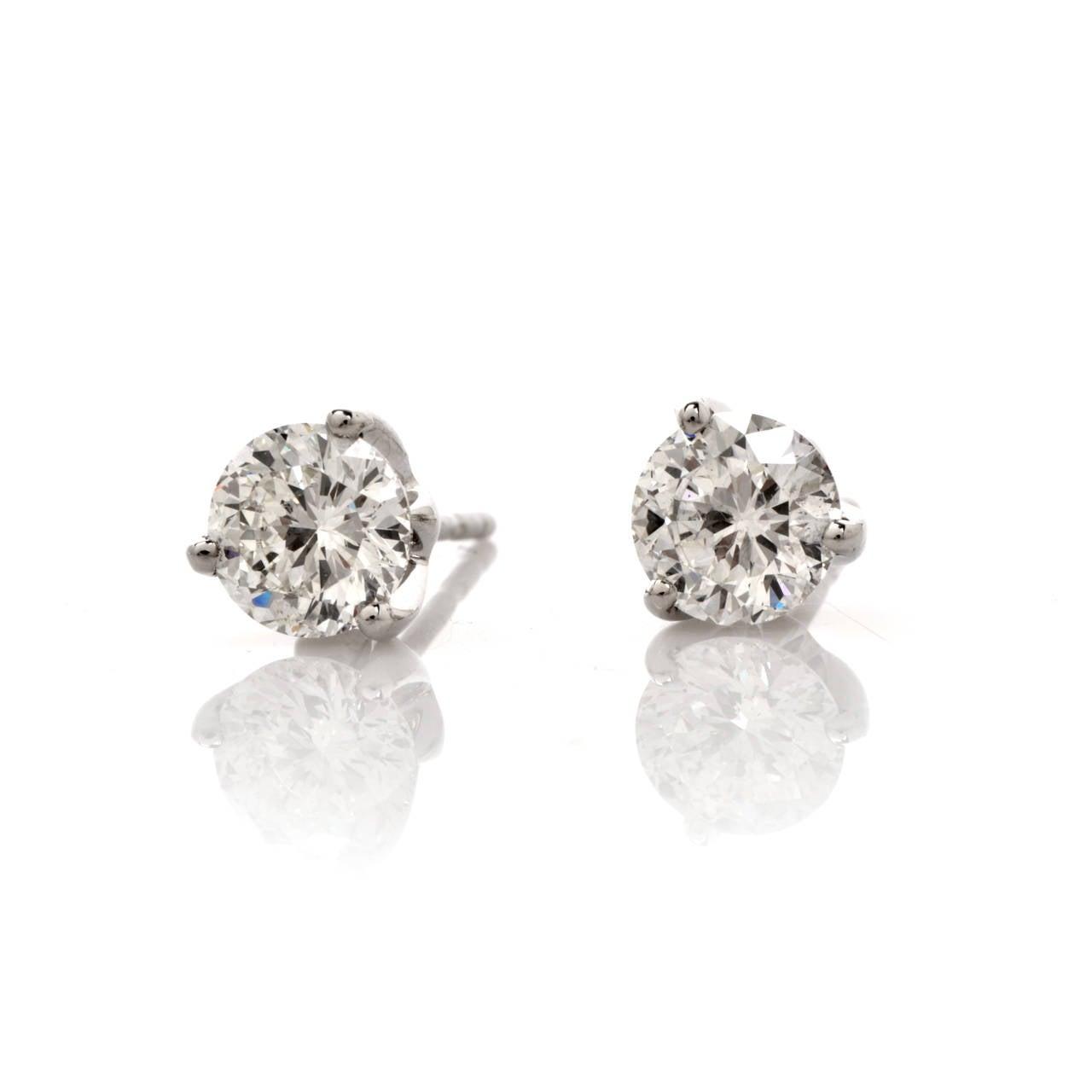 Roberto Coin Diamond Gold Stud Earrings at 1stdibs