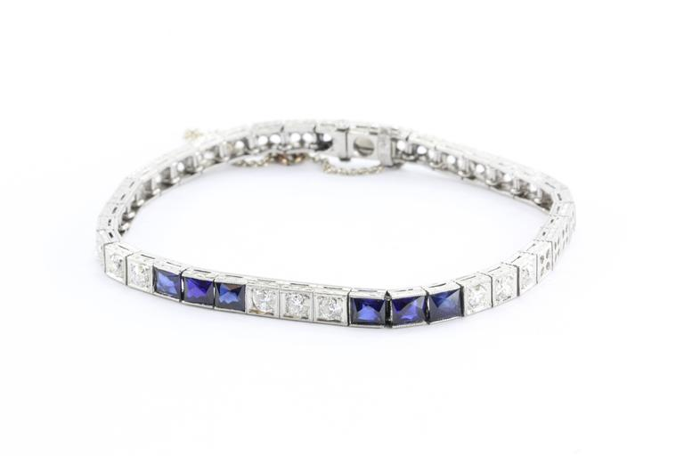 Art Deco French Cut Sapphire Old Mine Diamond Platinum