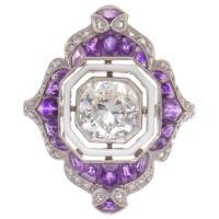 Enamel Amethyst Diamond Platinum Engagement Ring at 1stdibs