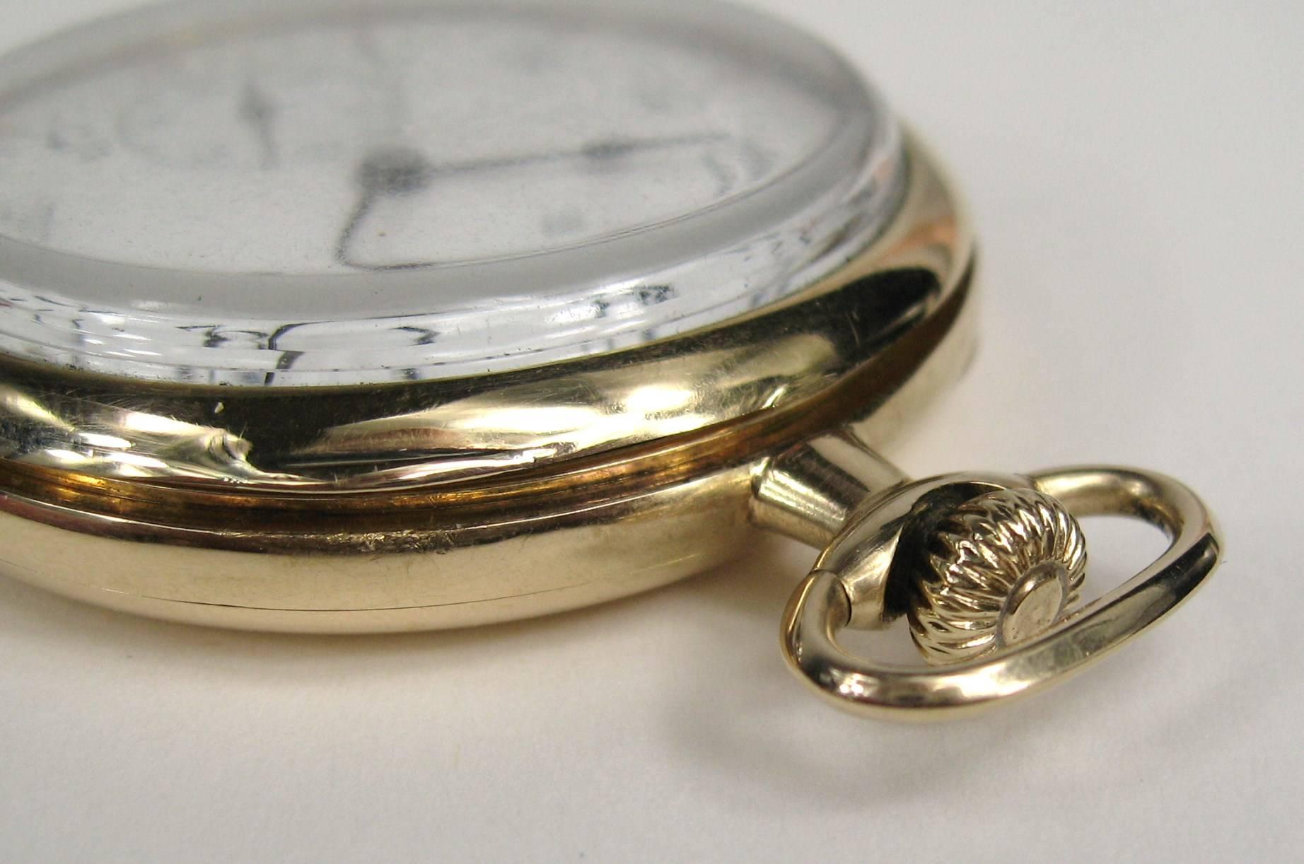 Hamilton Yellow Gold Open Face Antique Pocket Watch Circa