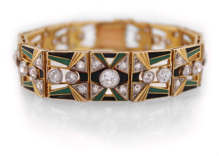 Art Deco Enamel Diamond Gold Bracelet At 1stdibs