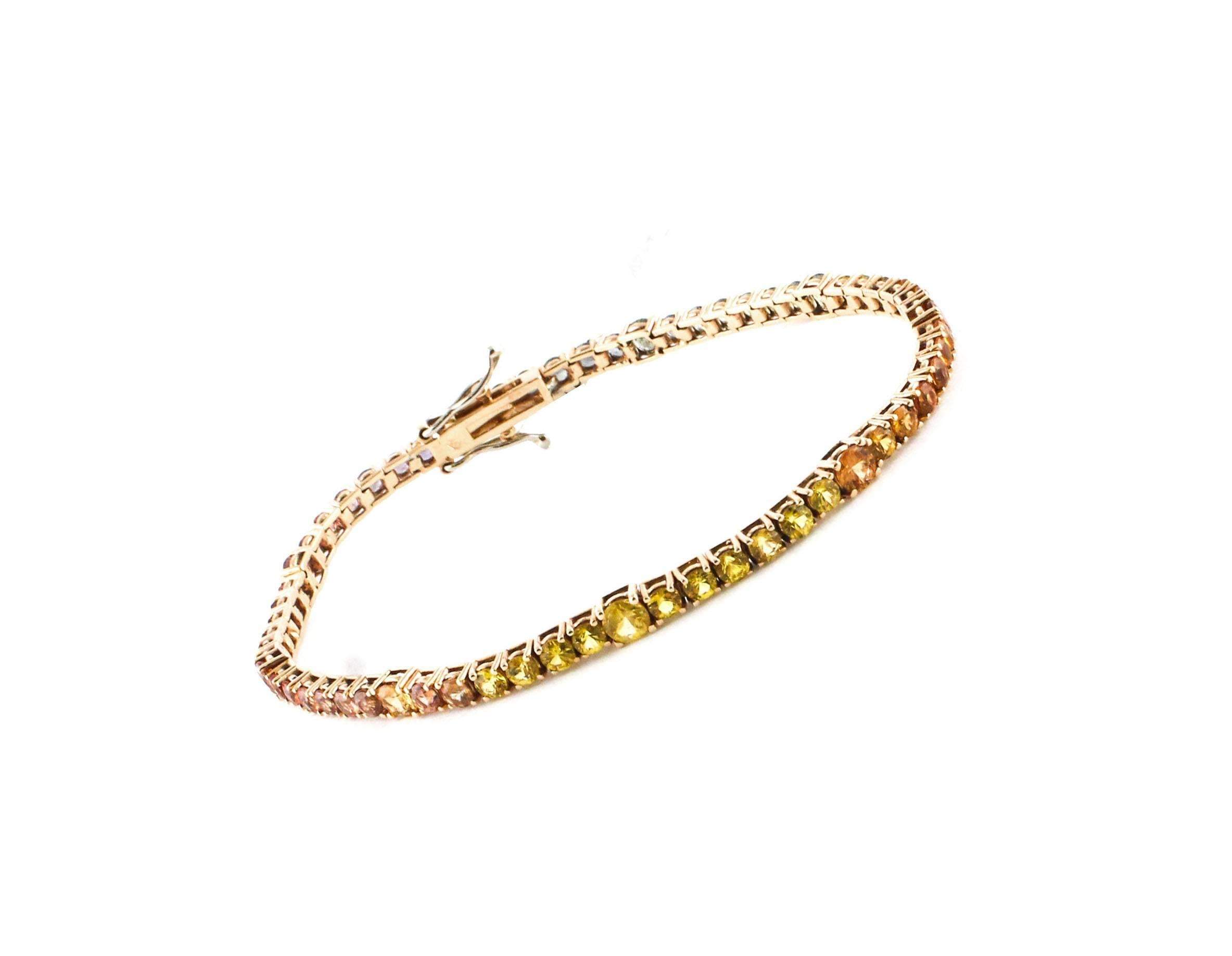 Tennis Rose Gold Bracelet With Multi Color Sapphires For