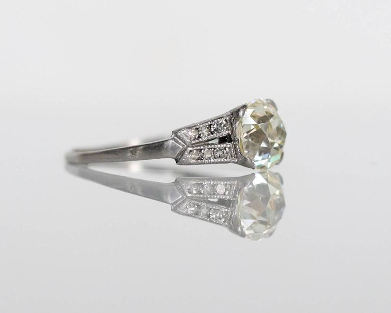 1920s Art Deco Platinum 146 Carat Cushion Cut Diamond