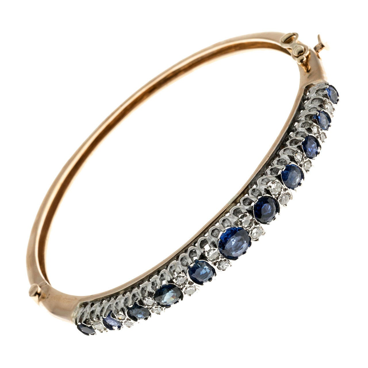 Natural Sapphire Diamond Gold Bangle Bracelet For Sale At