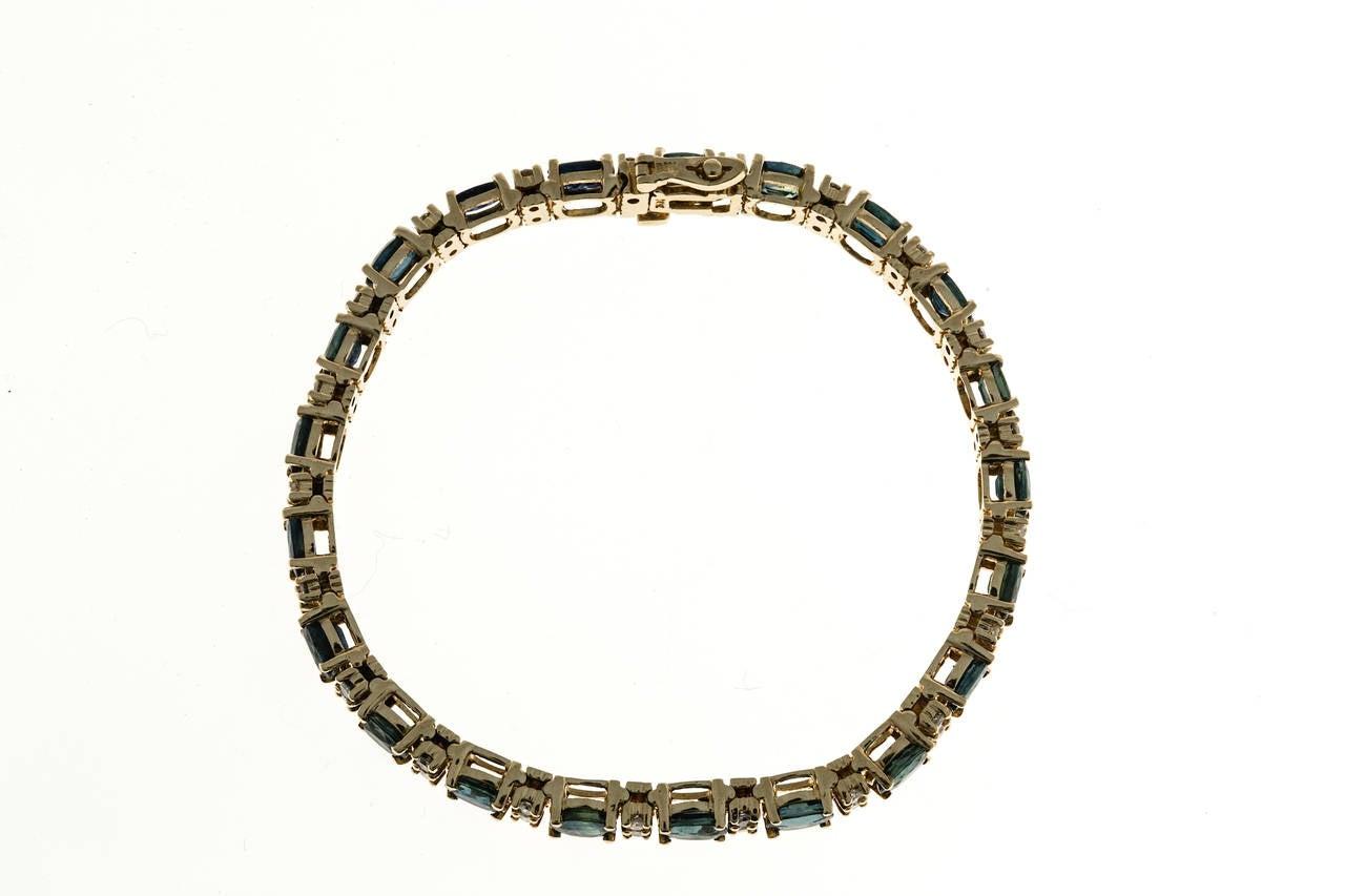 Oval Royal Sapphire Diamond Gold Hinged Link Bracelet For