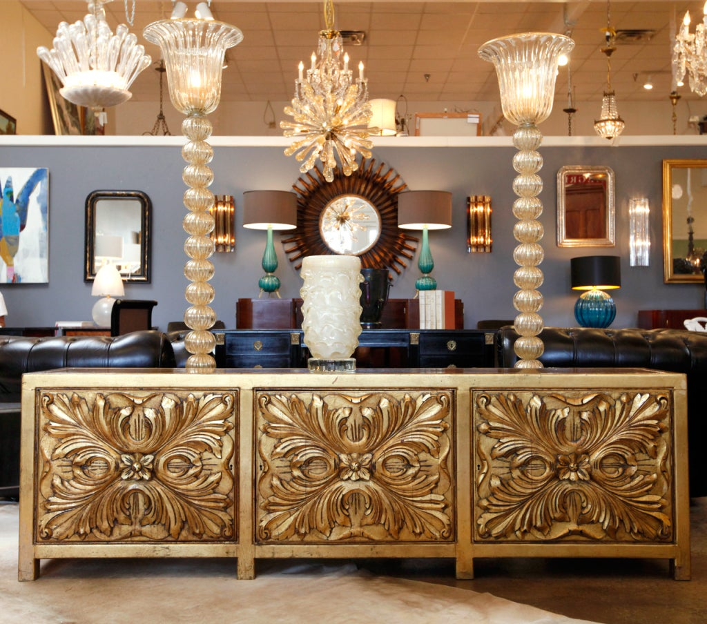 Spanish Hand Carved And Gold Leaf Credenza By Mariano - Garcia Decorateur
