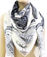 hermes wool shawl scarf apricot black