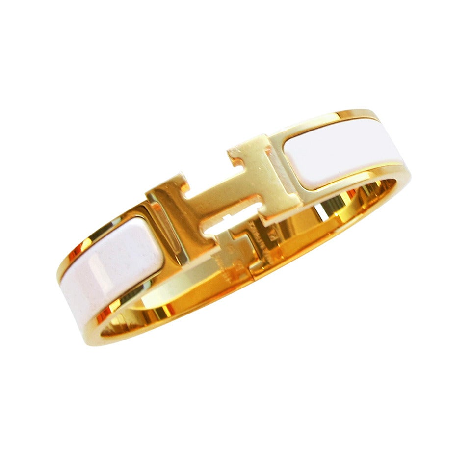 Hermes White Clic H Gold Hardware Ghw Enamel Bracelet