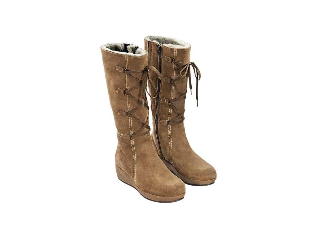 Tan La Canadienne Suede Winter Boots At 1stdibs