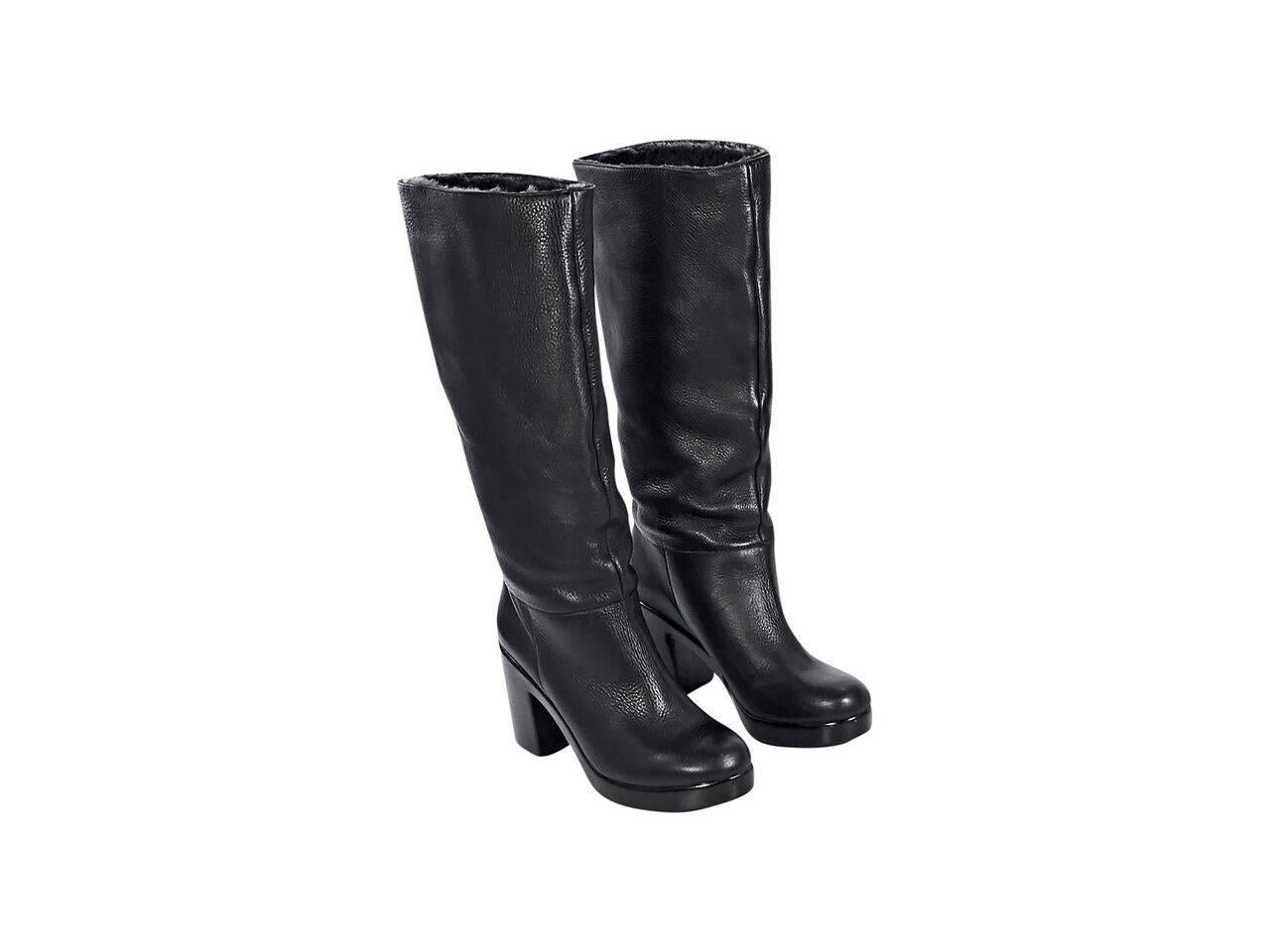 Black Robert Clergerie Shearling Lined Knee High Boots For