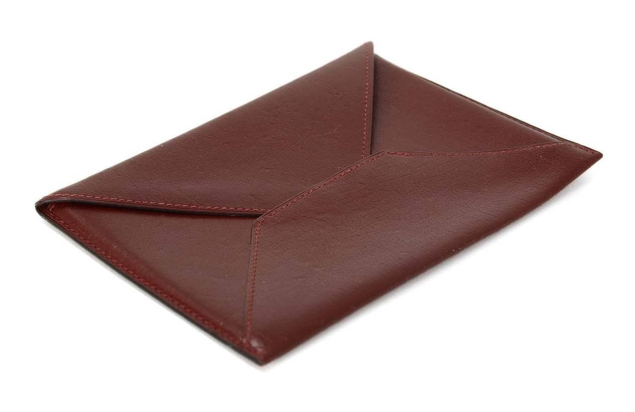 Hermes 2002 Rouge H Chevre Leather Envelope Passport