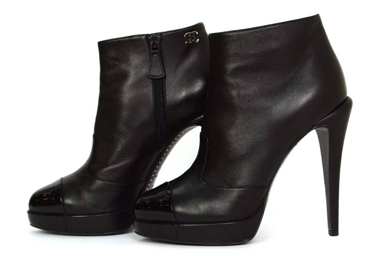 Chanel Black Leather Platform Ankle Boots Sz 39 At 1stdibs