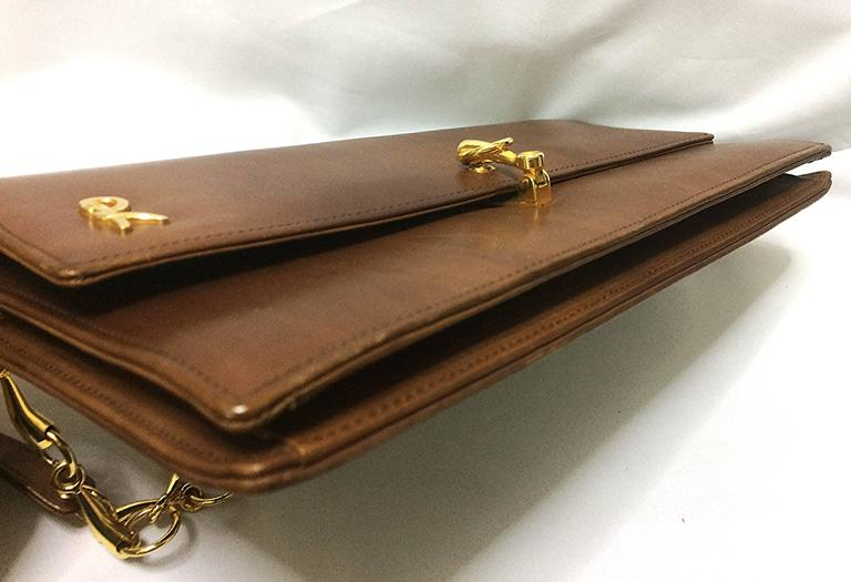 Vintage Roberta Di Camerino Brown Leather Chain Shoulder