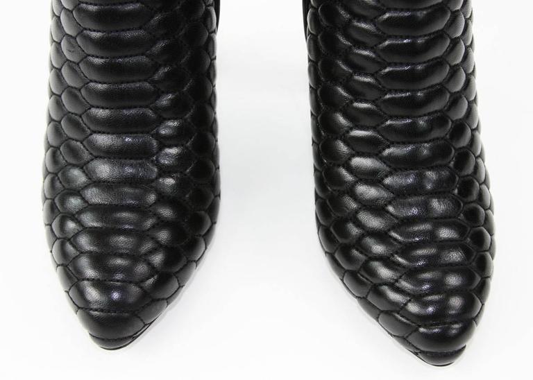 New Roberto Cavalli Textured Black Leather Over The Knee