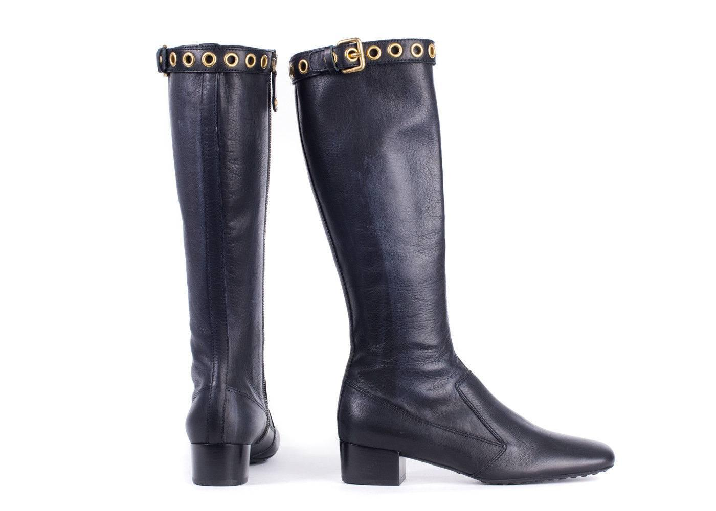Car Shoe Women39s Black Leather Gold Buckle Tall Boots For