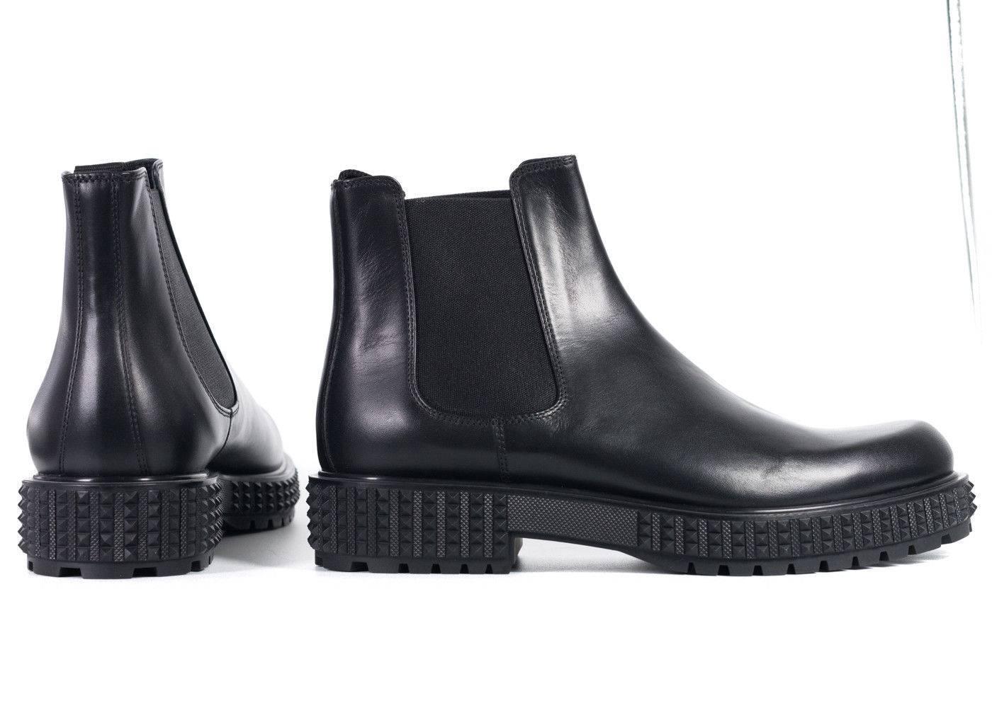 Valentino Mens Black Leather Rockstud Platform Chelsea