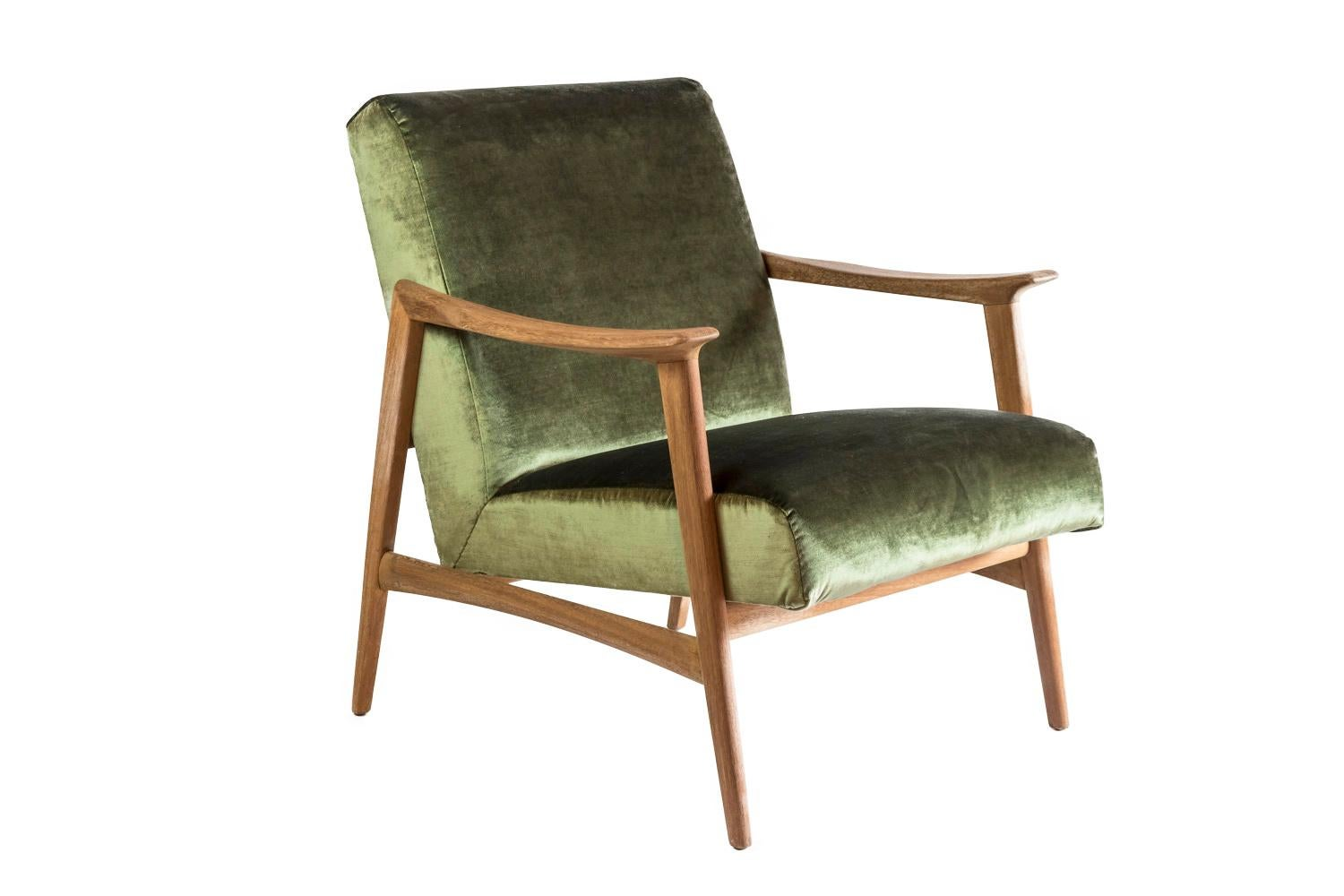 Arne Hovmand Olsen Paire De Fauteuils Scandinaves Teck Et Velours Vers 1970 For Sale At 1stdibs