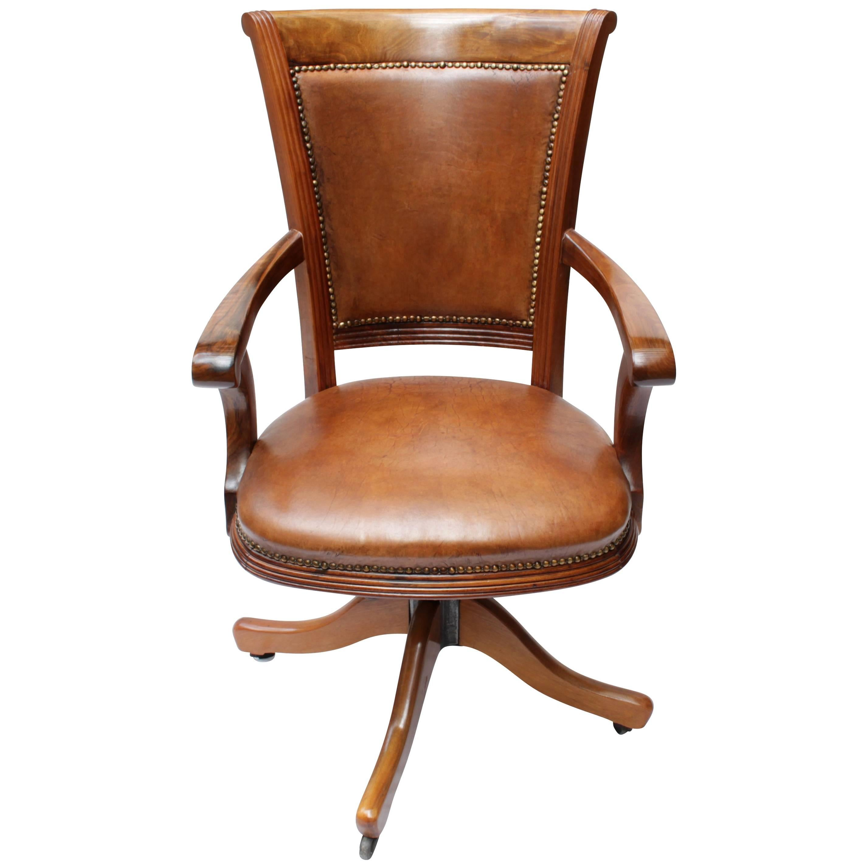 Bürostuhl Holz Vintage Art Deco Leather Captains Office Chair Swivel Frame Bei 1stdibs