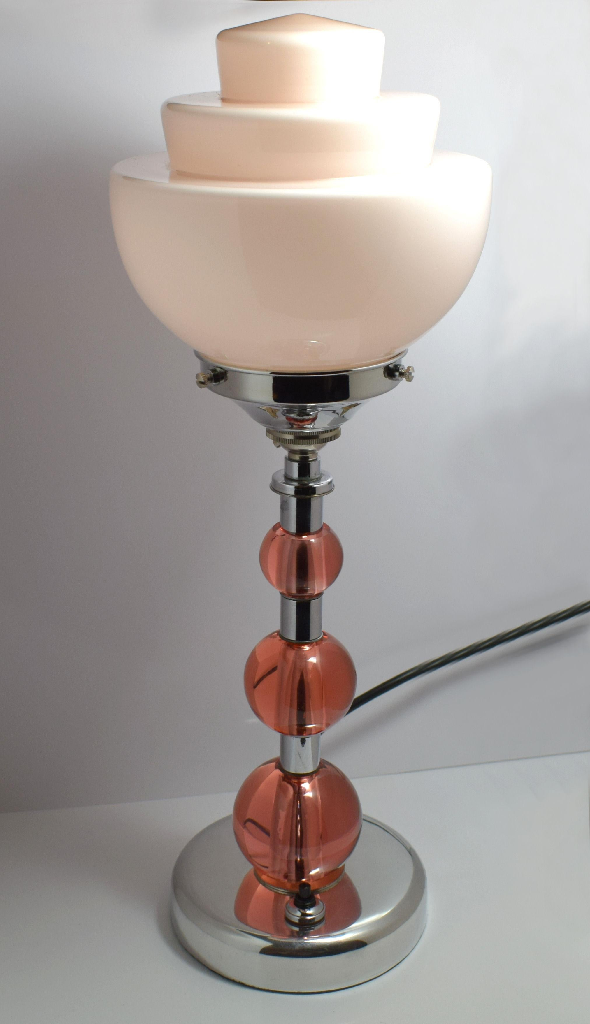 Glass Lamp Art Art Deco Pink Glass And Chrome Lamp
