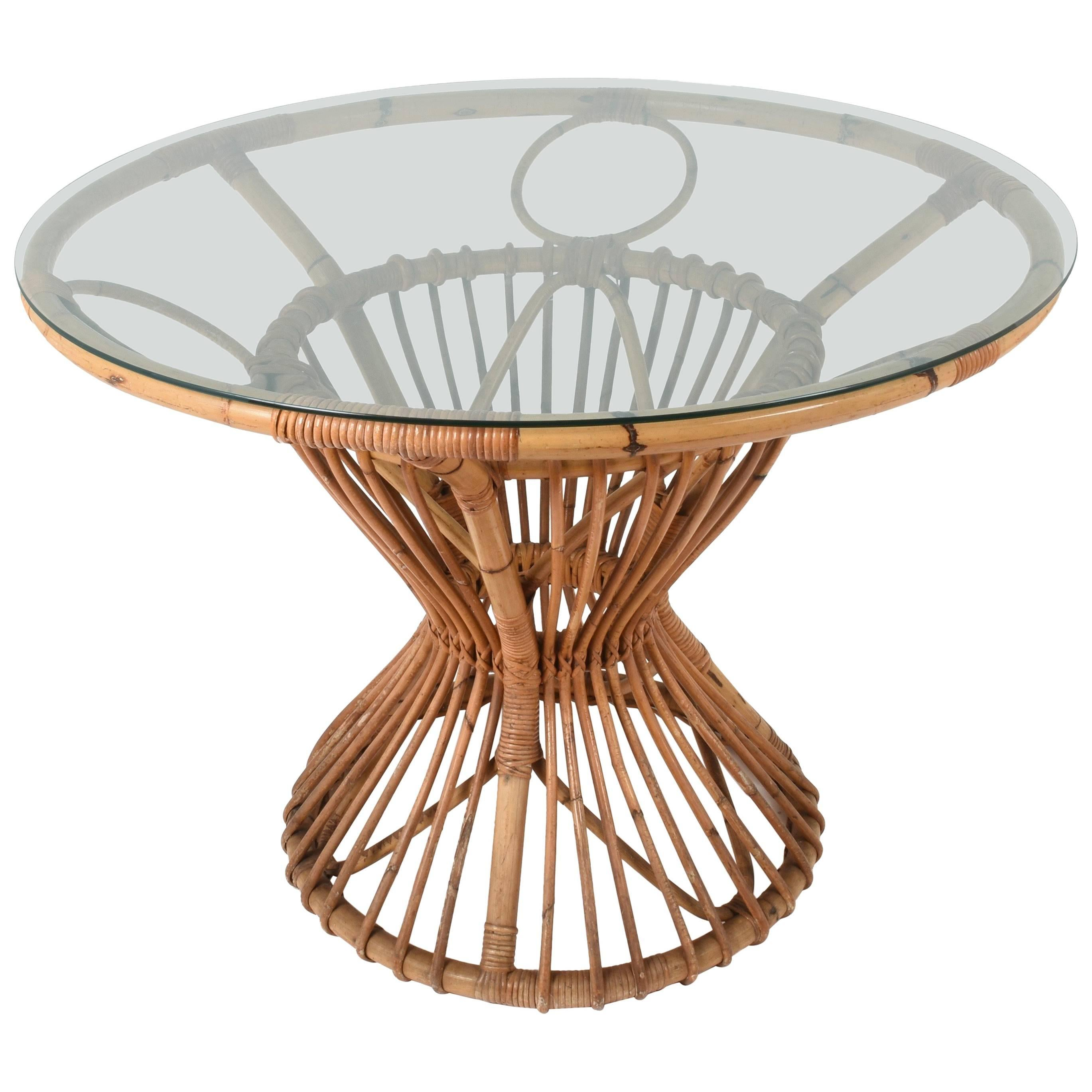 Rattan Table Bamboo And Rattan Table Suitable For Franco Albini Italy 1960s
