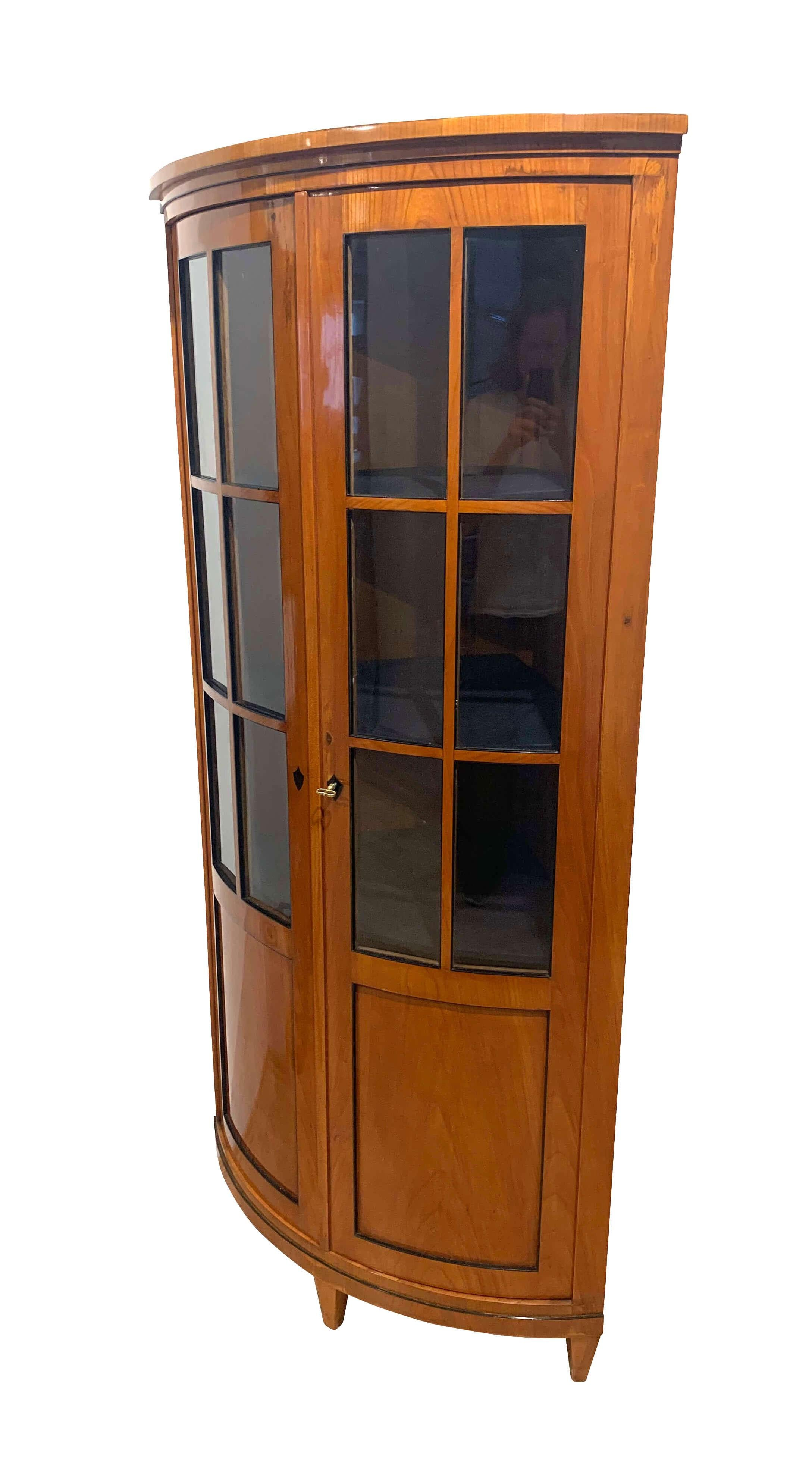 Eckvitrine Kirschbaum Biedermeier Corner Showcase Or Vitrine, Cherry Veneer, South Germany, Circa 1880 At 1stdibs