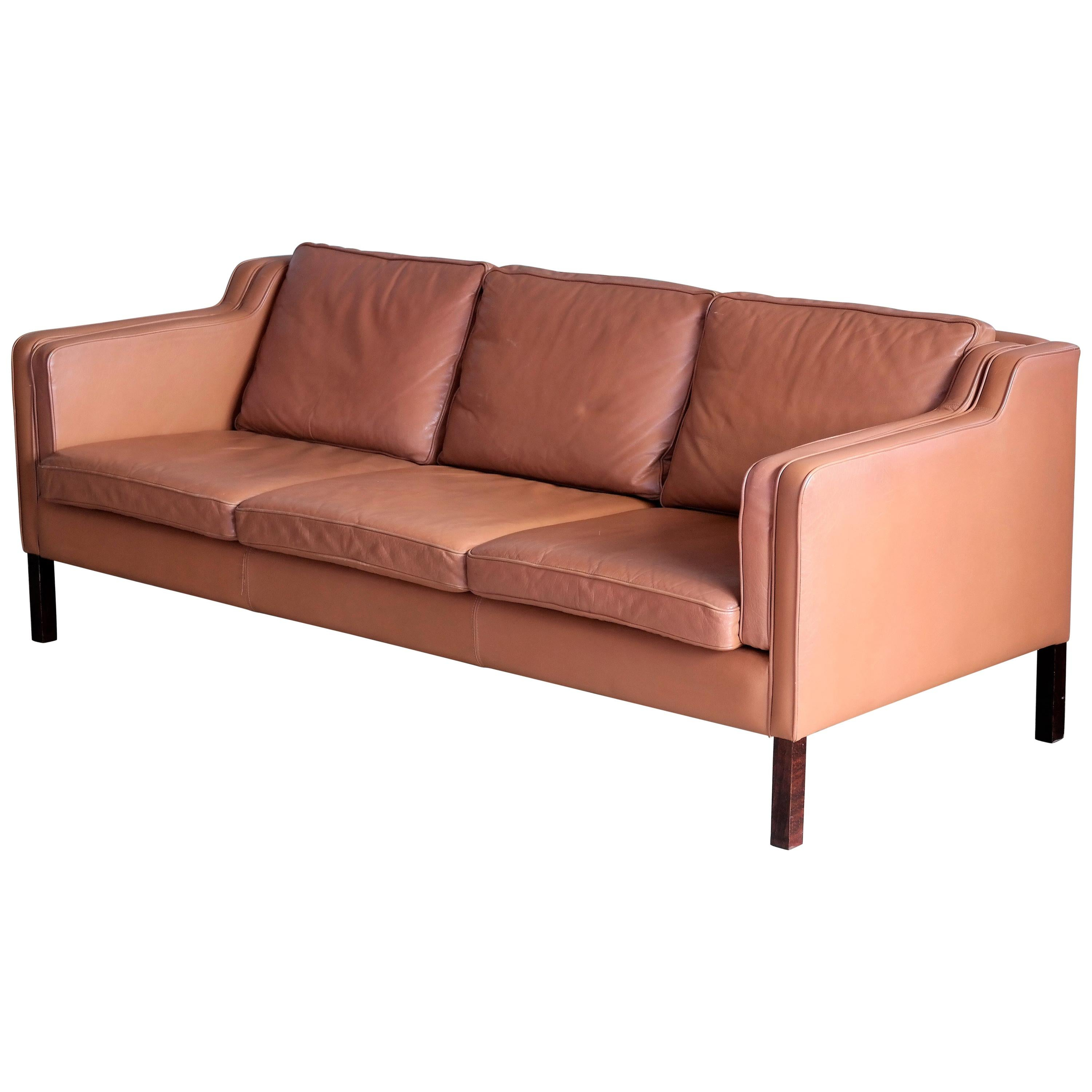 Sofa Cognacfarben Borge Mogensen Style Model 2213 Three Seat Sofa In Cognac Leather By Stouby