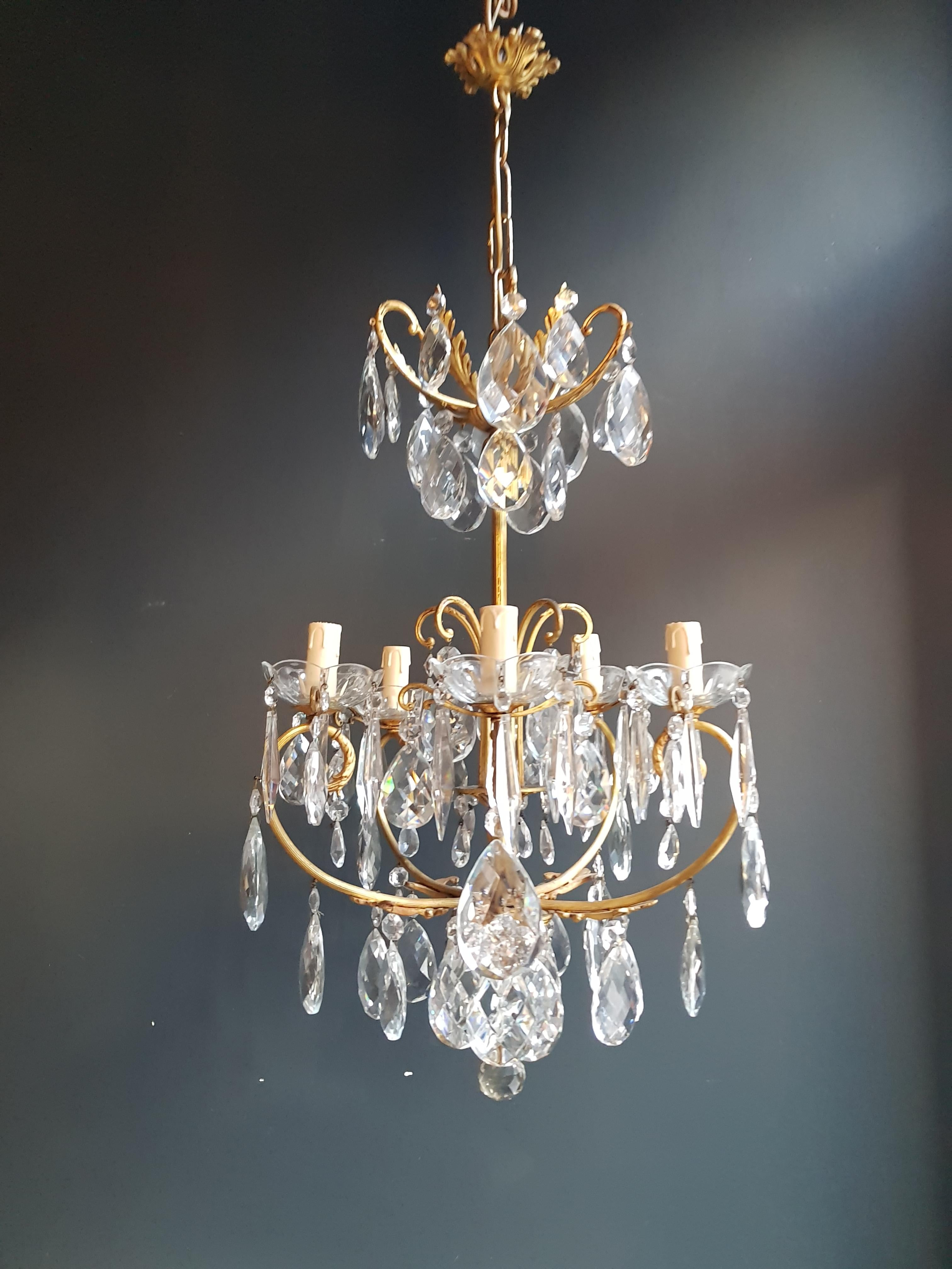 Lustre Cage Brass Cage Crystal Chandelier Antique Ceiling Lamp Lustre Art Nouveau