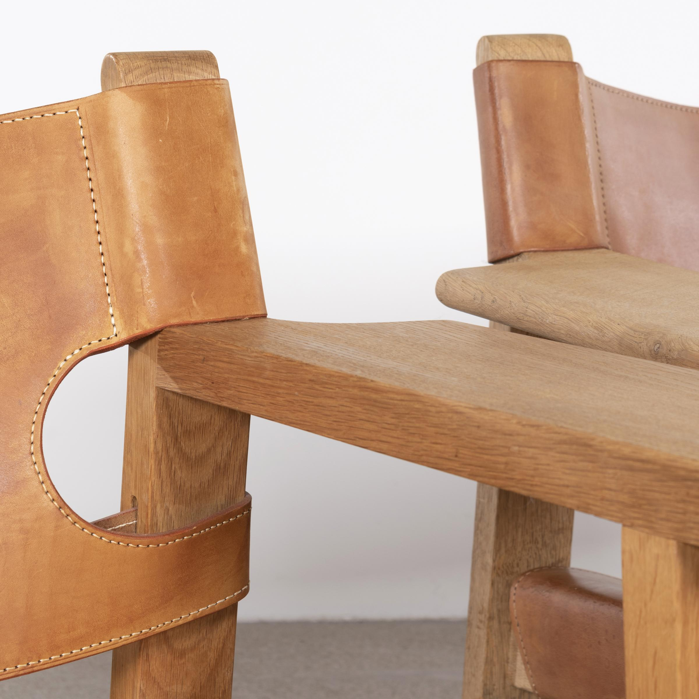 "Brauner Ledersessel Børge Mogensen ""spanish"" Chair In Cognac Leather And Oak"