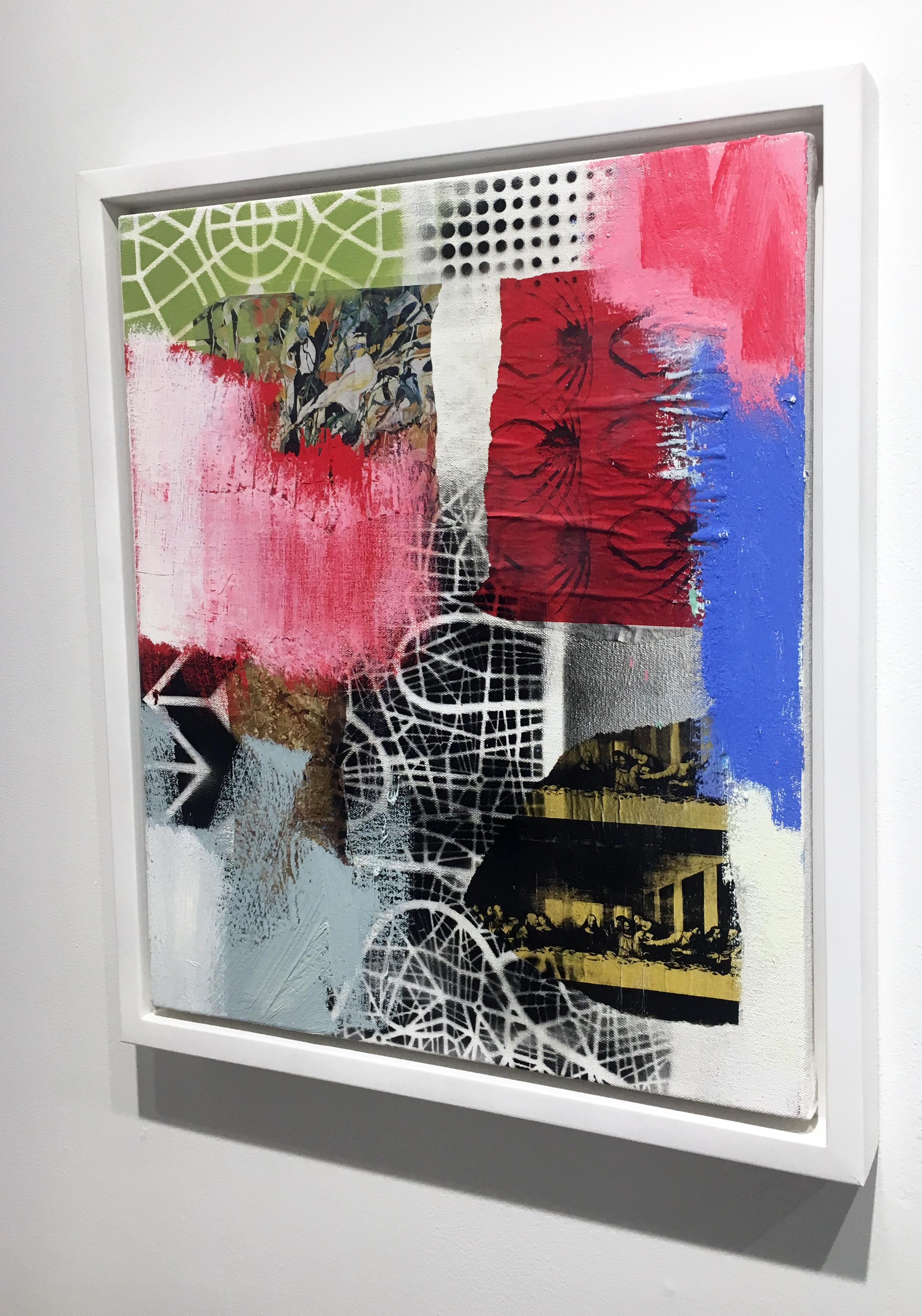 Contemporary Abstract Painting Contemporary Abstract Oil Painting With Collage On Canvas Framed Mixed Media