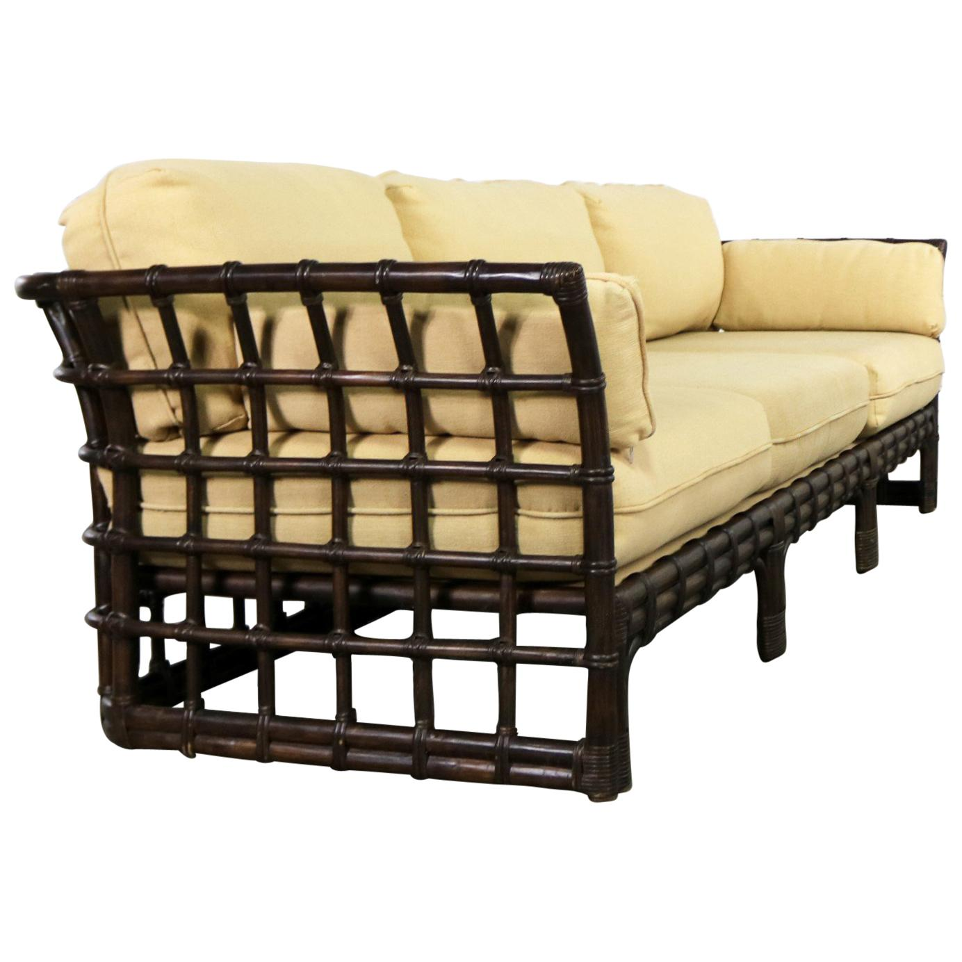 Rattan Sofa Brown Jordan Windowpane Dark Brown Rattan Sofa With Straw Colored Cushions