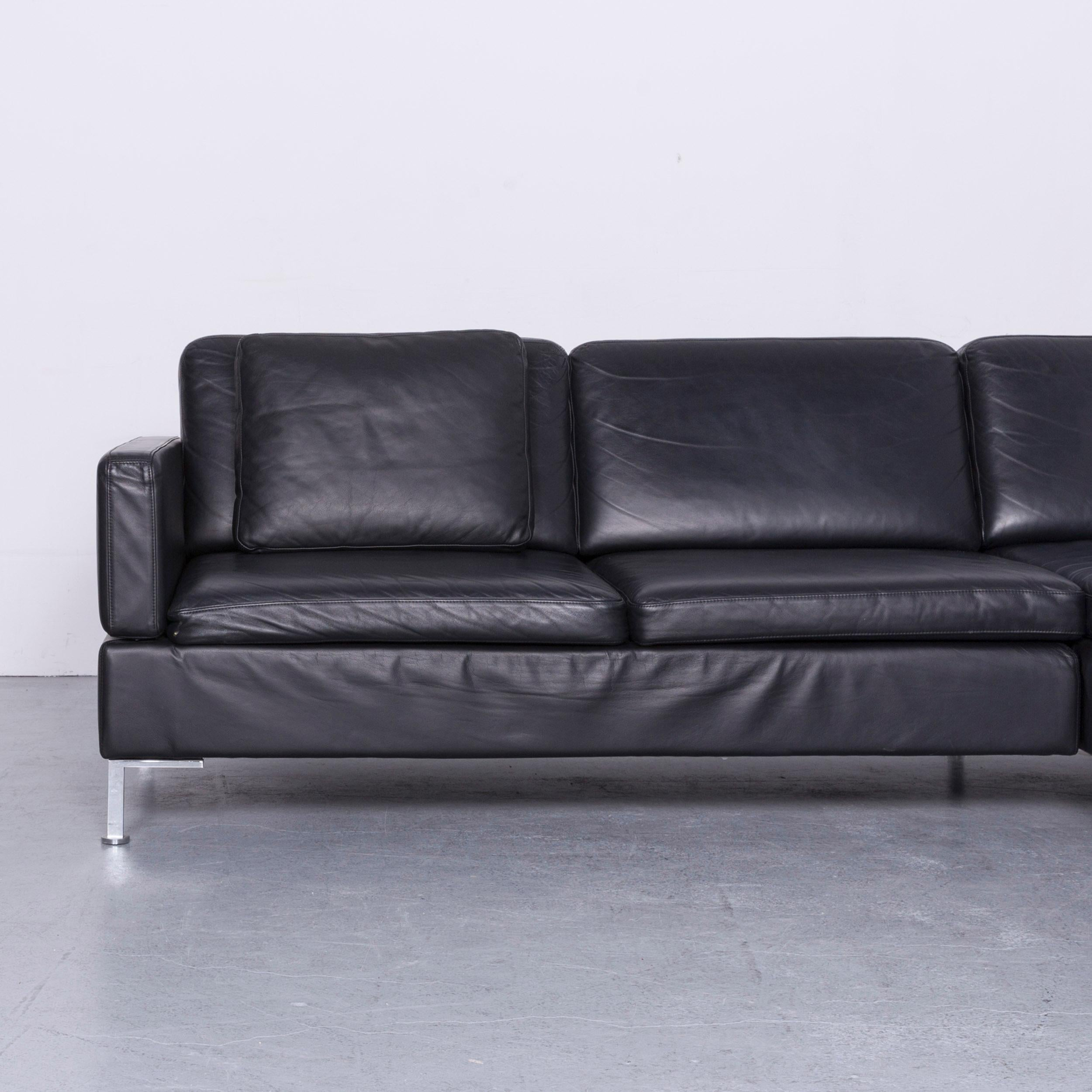 Brühl Und Sippold Brühl Sippold Alba Designer Corner Sofa Black Leather Couch With Function