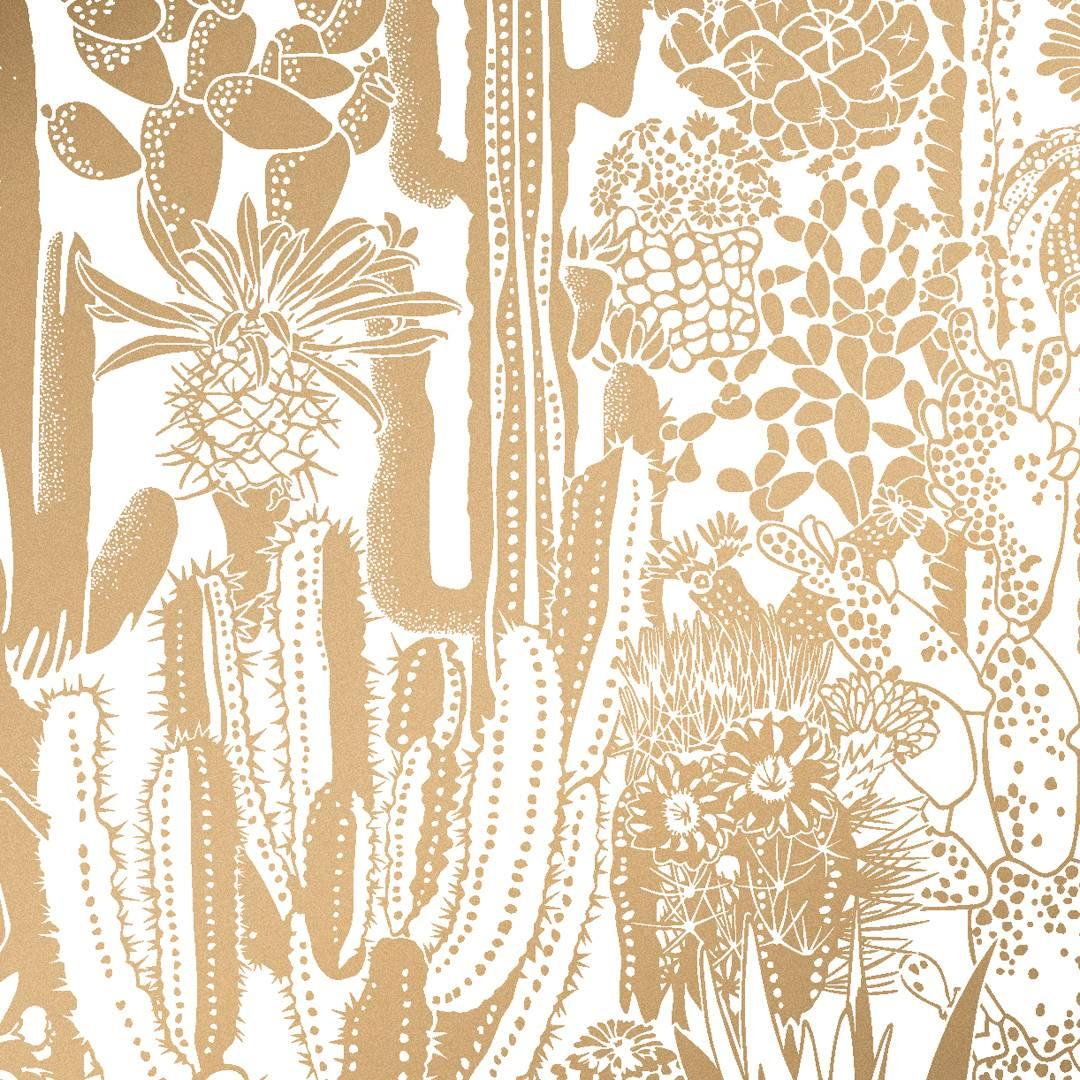 Metallic Gold Wallpaper Cactus Spirit Screen Printed Wallpaper In Color Sphinx Metallic Gold On White