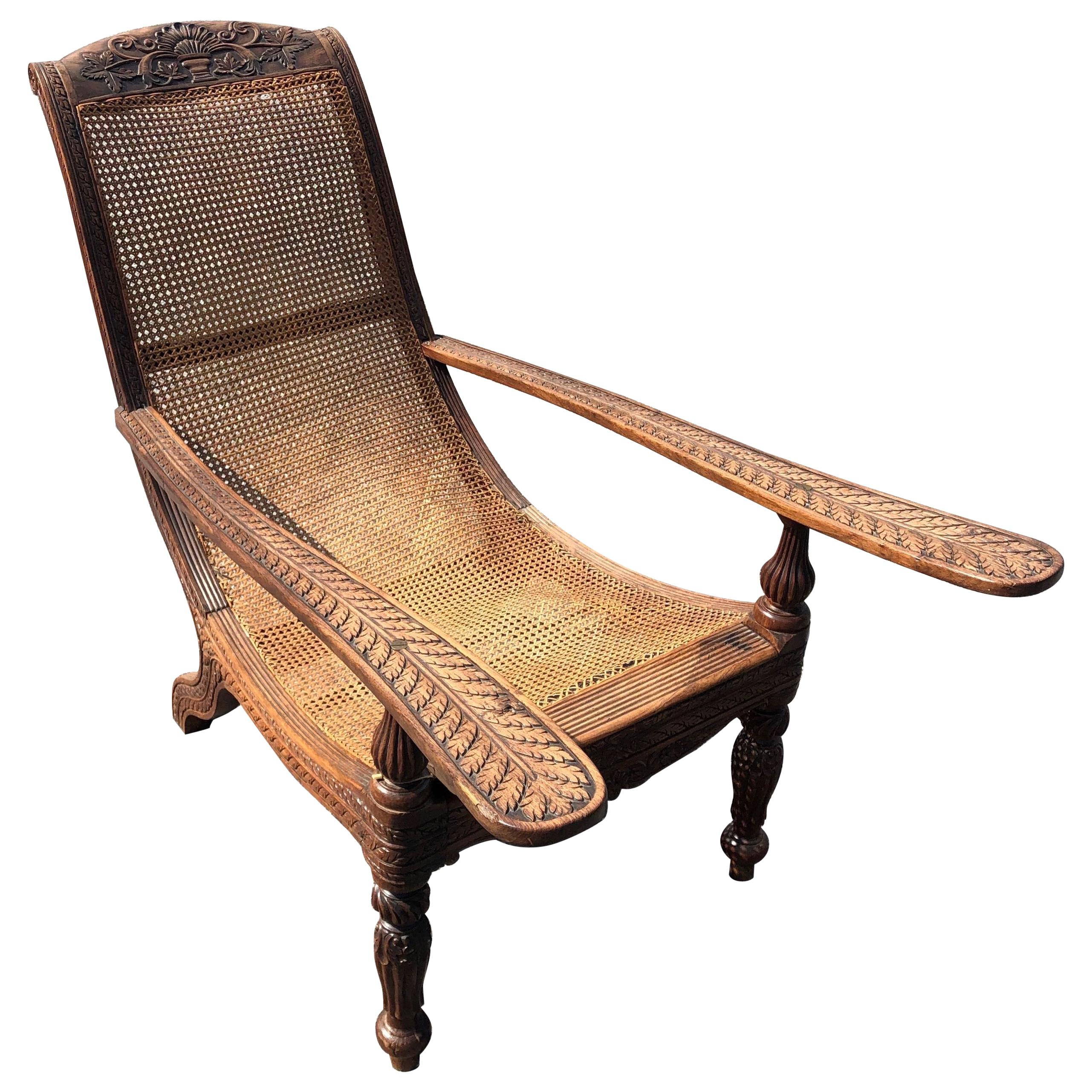 Carved 19th Century West Indies Rosewood Plantation Chair For Sale At 1stdibs