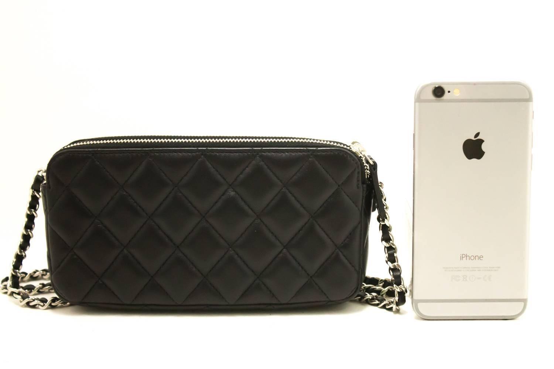 Chanel Lambskin Wallet On Chain Woc Double Zip Chain