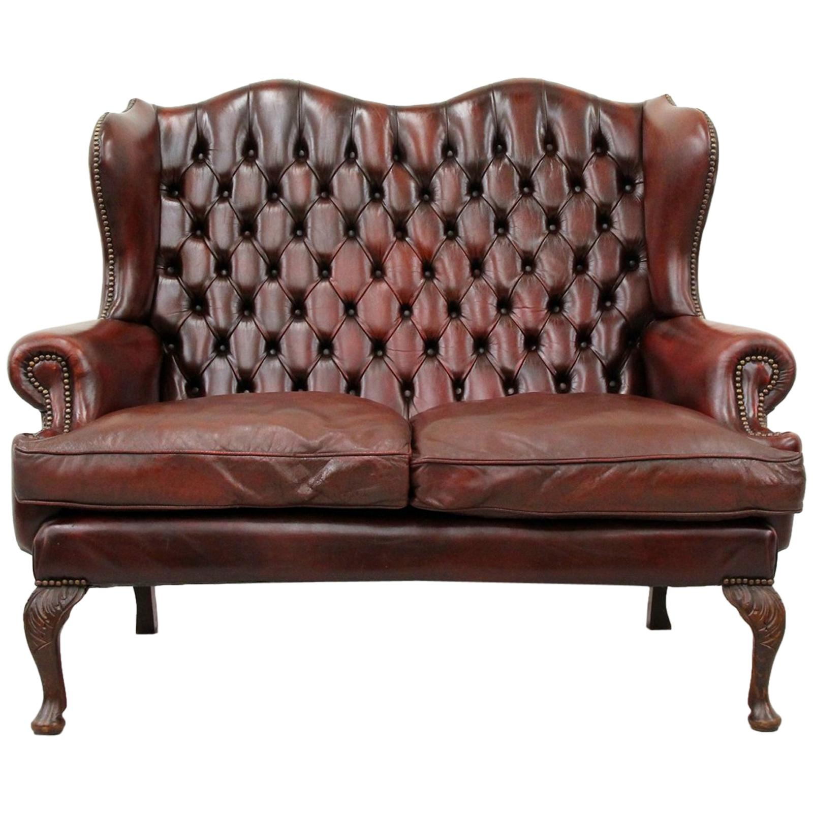 Vintage Couch Chesterfield Chippendale Sofa Leather Antique Vintage Couch English