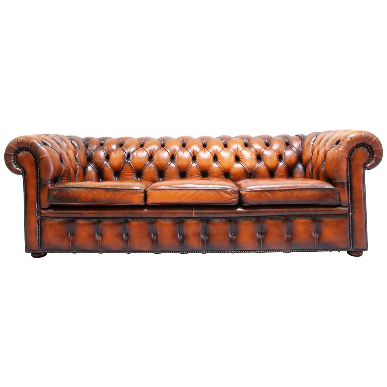 Polster Couch Chesterfield Sofa Leder Antik Vintage Couch English Chippendale